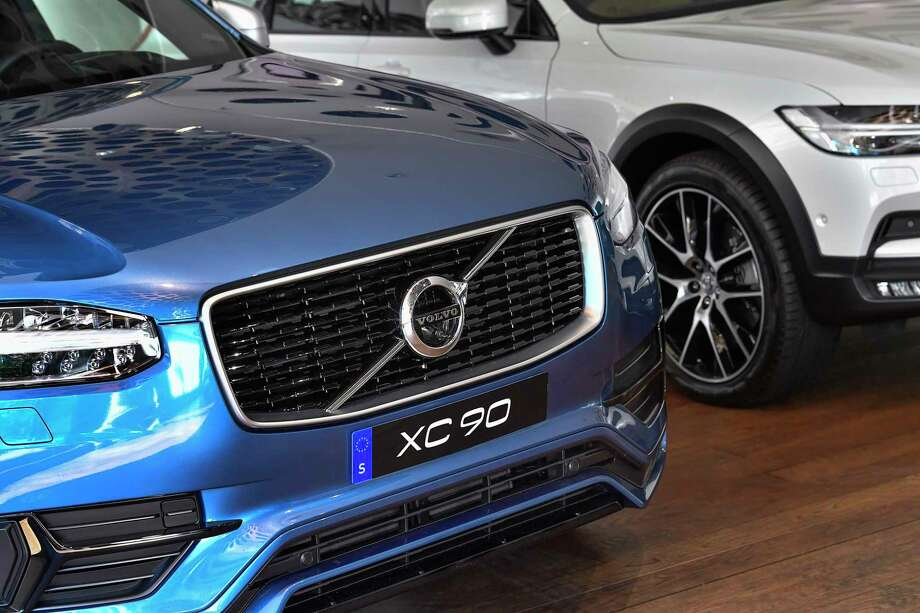 A Volvo XC 90 during an interview with Volvo Cars CEO Hakan Samuelsson at Volvo Cars Showroom in Stockholm, Sweden, Wednesday, July 5, 2017. Samuelsson said that all Volvo cars will be electric or hybrid within two years. The Chinese-owned automotive group plans to phase out the conventional car engine. (Jonas Ekstromer/TT via AP) ORG XMIT: LON807 Photo: Jonas Ekstromer / JONAS EKSTROMER