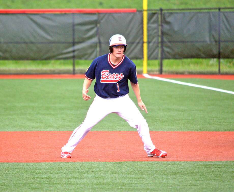 Zach Seavers of the Edwardsville Bears leads off first base during the fourth inning of Wednesday's game against American National at SIUE.