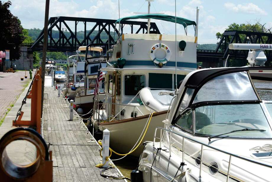 Boats are seen tied up along the wall just below the locks on Wednesday, July 5, 2017, in Waterford, N.Y.  (Paul Buckowski / Times Union) Photo: PAUL BUCKOWSKI / 20040976A