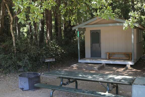 One of the 12 camping cabins at Little Basin, located adjacent to Big Basin Redwoods State Park near Boulder Creek in the Santa Cruz Mountains