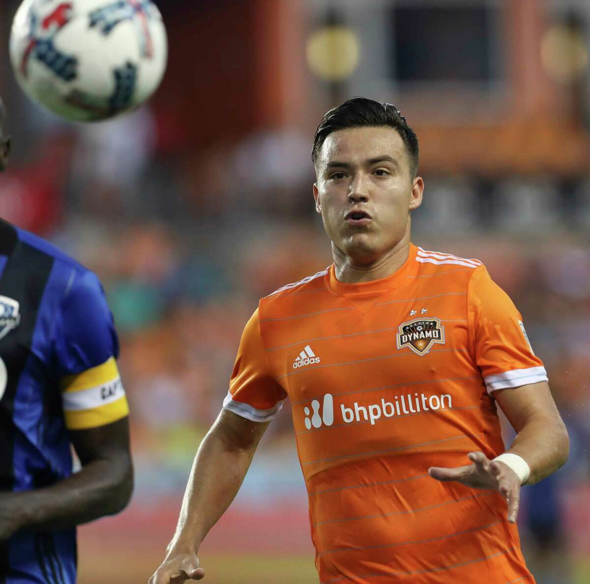 Dynamo forward Erick Torres (9) has returned to the team this week following the death of his father in Mexico.