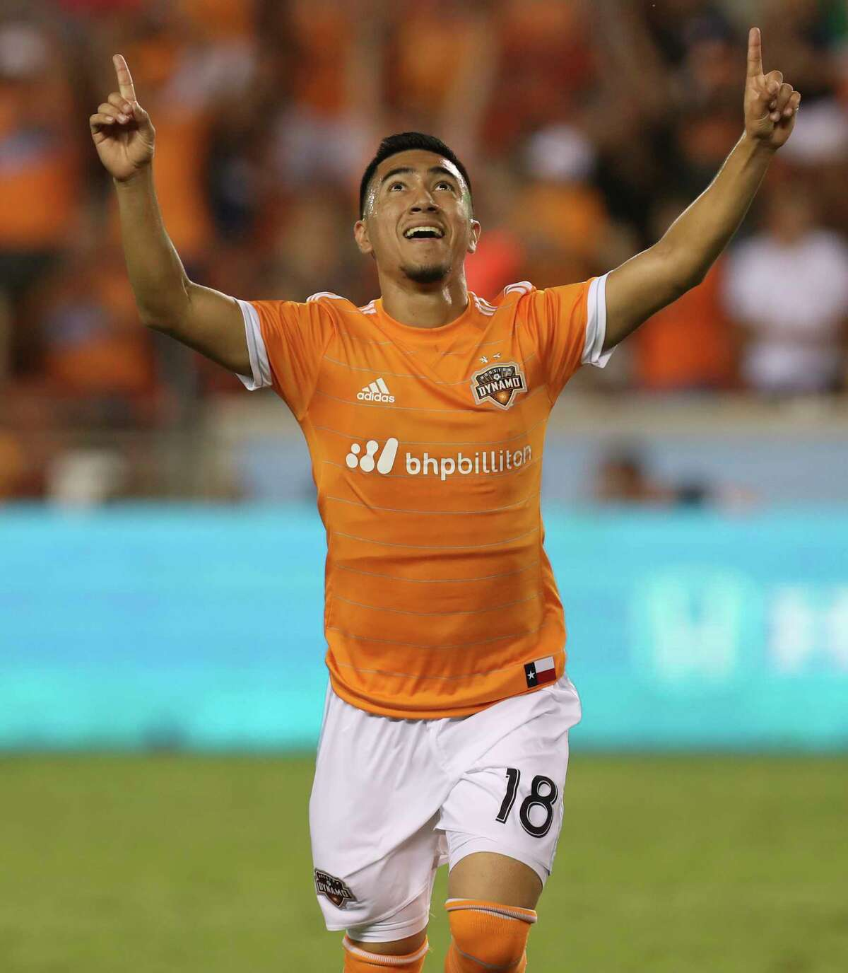 Houston Dynamo midfielder Memo Rodriguez (18) celebrates his goal during the second half of the game at BBVA Compass Stadium Wednesday, July 5, 2017, in Houston.