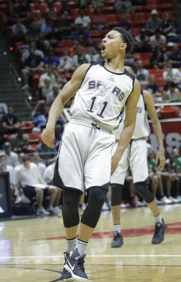 San Antonio Spurs guard Bryn Forbes (11) reacts after shooting against the Boston Celtics during the second half of an NBA summer league basketball game Wednesday, July 5, 2017, in Salt Lake City. (AP Photo/Rick Bowmer) Photo: Rick Bowmer/AP