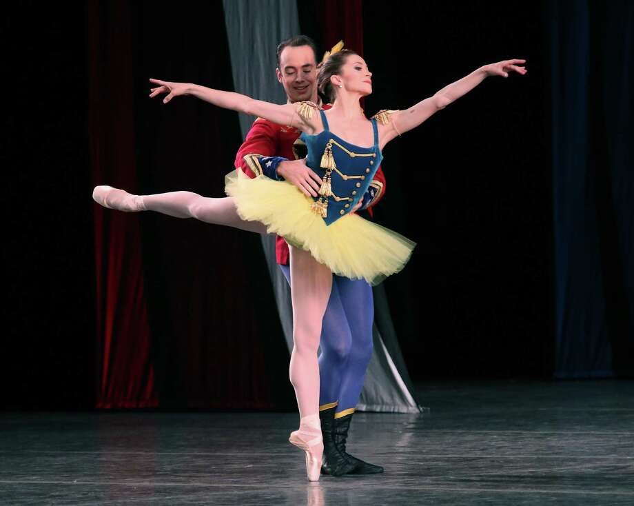 "Dancers Megan Fairchild and Tyler Angle perform in ""Stars and Stripes"" at Saratoga Performing Arts Center. (Ed Burke photo-Special to The Times Union)"