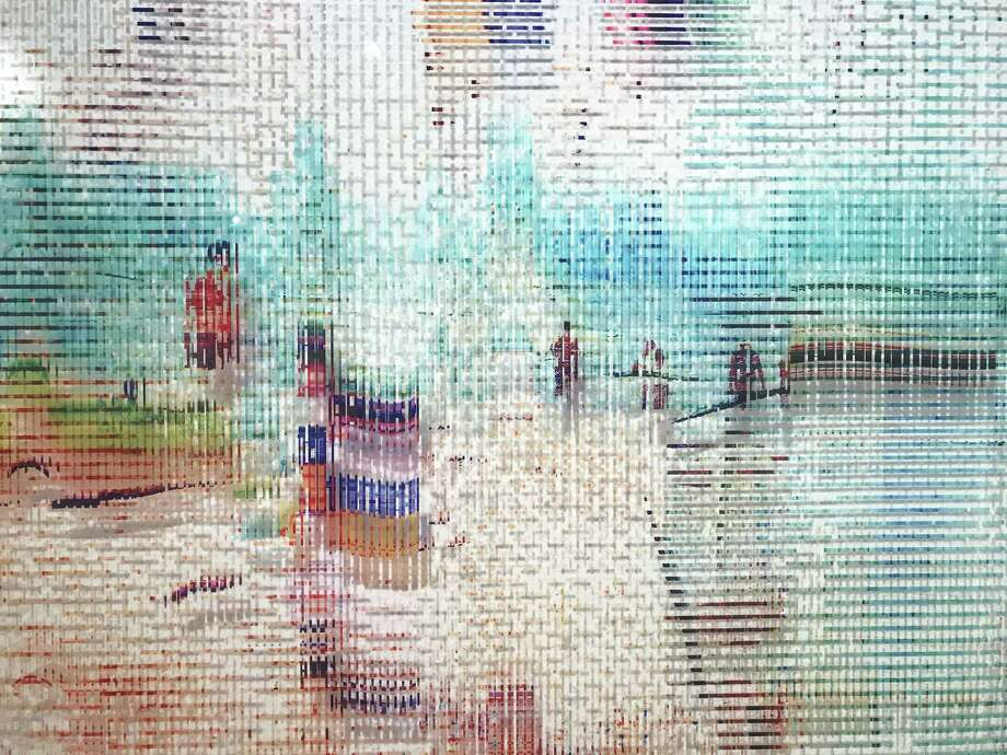 """A detail of """"Enchanted Glitch,"""" one of the works in Shane Allbritton and Peter Bernick-Allbritton's show """"Suspended Memory,"""" on view through July 22 at Art League Houston. Photo: Molly Glentzer, Houston Chronicle"""