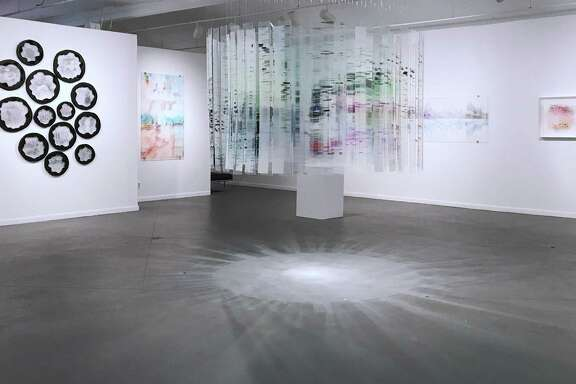"""An installation view ofShane Allbritton and Peter Bernick-Allbritton's show """"Suspended Memory,"""" on view through July 22 at Art League Houston."""