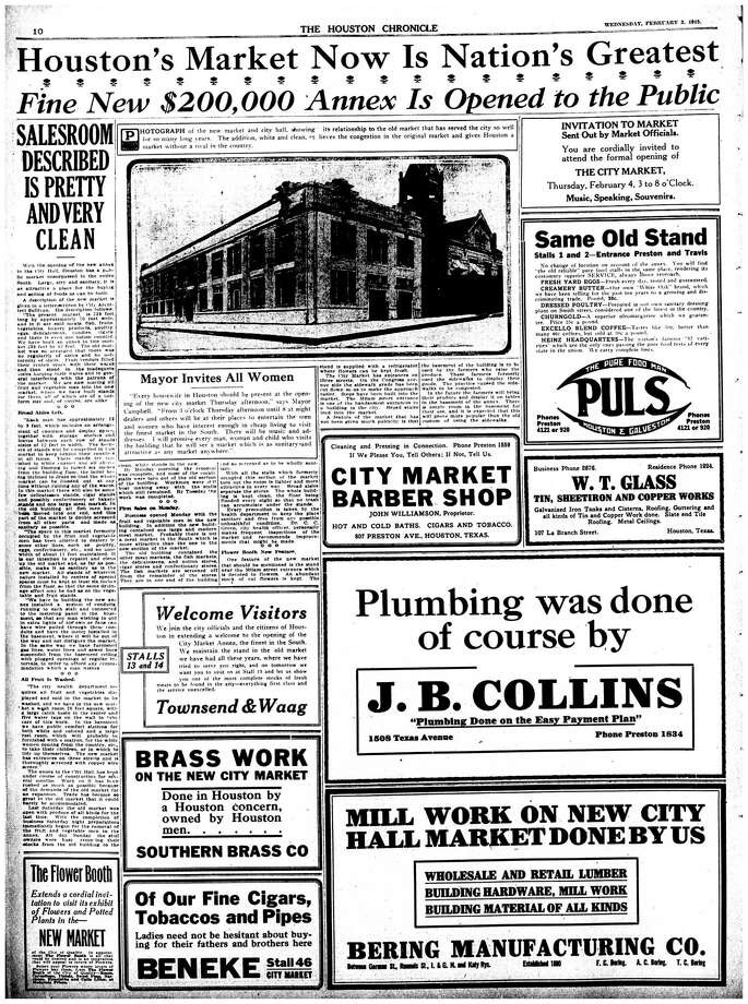 Houston Chronicle inside page - February 3, 1915 - section 1, page 10. Houston's Market Now Is Nation's Greatest. Fine New $200,000 Annex Is Opened to the Public Photo: HC Staff / Houston Chronicle