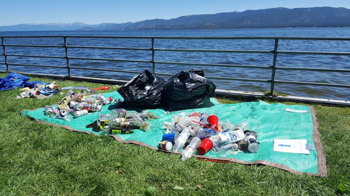 Lake-goers littered Tahoe beaches with trash on July 4, 2017.