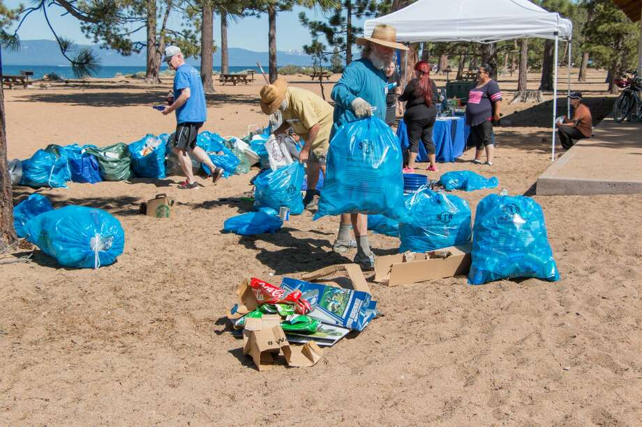 Volunteers with Keep Tahoe Blue picked up more than 1,678 pounds of trash on 5.64 miles of beach on July 5, 2017. Photo: Courtesy League To Save Lake Tahoe
