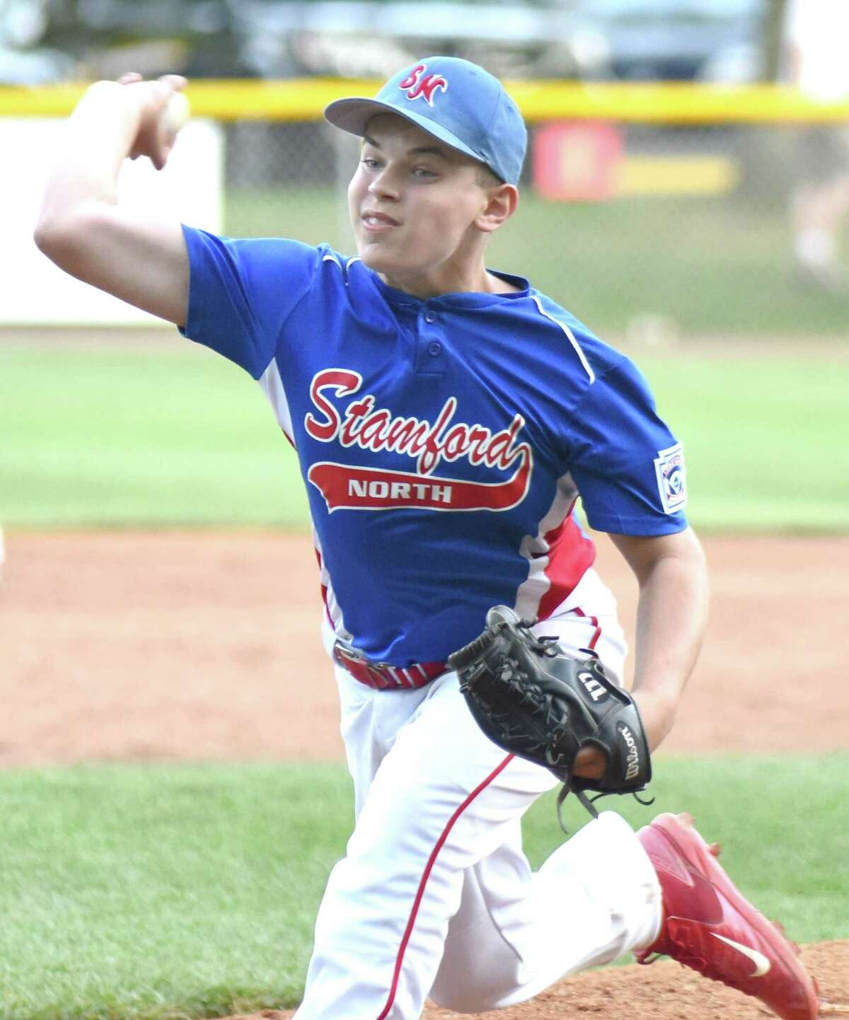 Stamford North pitcher Mike Iorfino fires to the plate during Wednesday's District 1 Little League All-Star playoff game at Bill Terry Field in Wilton. Iorfino fired a perfect game, retiring all 18 batters he faced as Stamford North defeated Wilton 5-0.