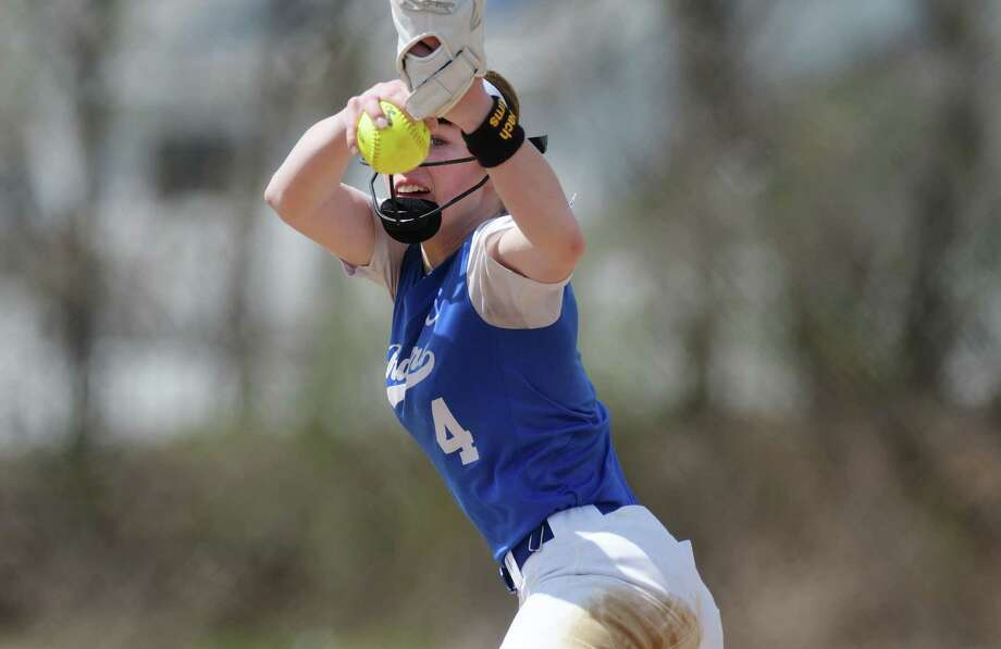 Calista Phippen of Ichabod Crane delivers a pitch during the Ichabod Crane and Cohoes girls softball game on Monday, April 17, 2017, in Cohoes, N.Y.  (Paul Buckowski / Times Union) Photo: Albany Times Union / Cohoes