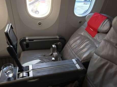Norwegian Air Premium cabin seats on a Boeing 787 Dreamliner recline, but don't lie-flat. Photo: Nancy Branka
