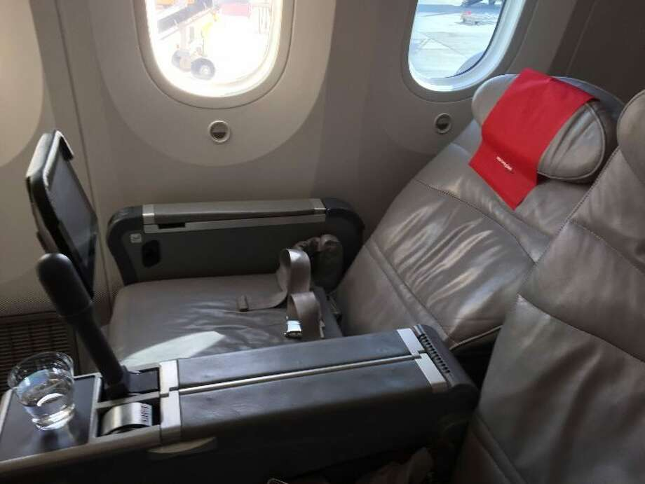 Norwegian Air Premium cabin seats on a Boeing 787 Dreamliner recline, but don't lie-flat. Photo: Nancy Branka
