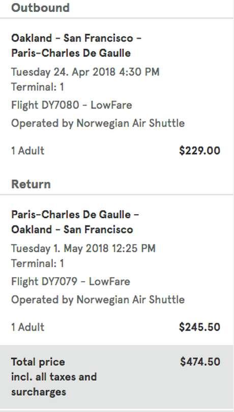 Norwegian Air's deals from Oakland to Paris. Photo: Chris McGinnis / TravelSkills.com