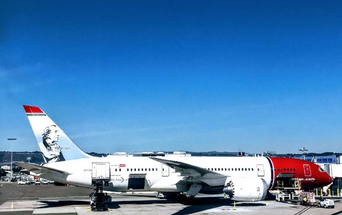 A Norwegian Air 787 Dreamliner parked at Oakland International Airport- nonstops to Rome begin on Tuesday