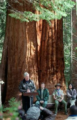 President Clinton addresses a small crowd near the Trail of 100 Giants in Sequoia National Forest, April 15, 2000, before signing a proclamation creating the Giant Sequoia National Monument that will protect groves of ancient sequoias and the forests that surround them. The Supreme Court refused Monday, Oct. 6, 2003, to consider overturning Clinton's orders protecting more than 2 million acres of federal land in five Western States. (AP Photo/Bakersfield Californian, Henry A. Barrios, File)