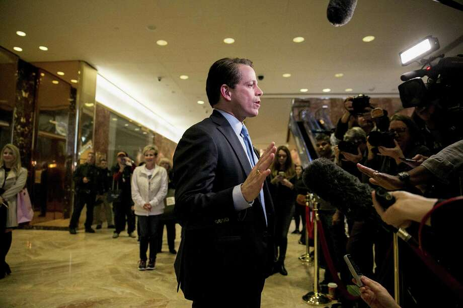Anthony Scaramucci, a hedge fund manager and Trump confidant on the then President-elect's transition team, talks to reporters in the lobby of Trump Tower in New York last November. CNN was forced to apologize earlier this month after retracting a story on its website that a Russian bank linked to Scaramucci was under Senate investigation. Three high-ranking journalists at the network resigned. Photo: SAM HODGSON / NYT / NYTNS
