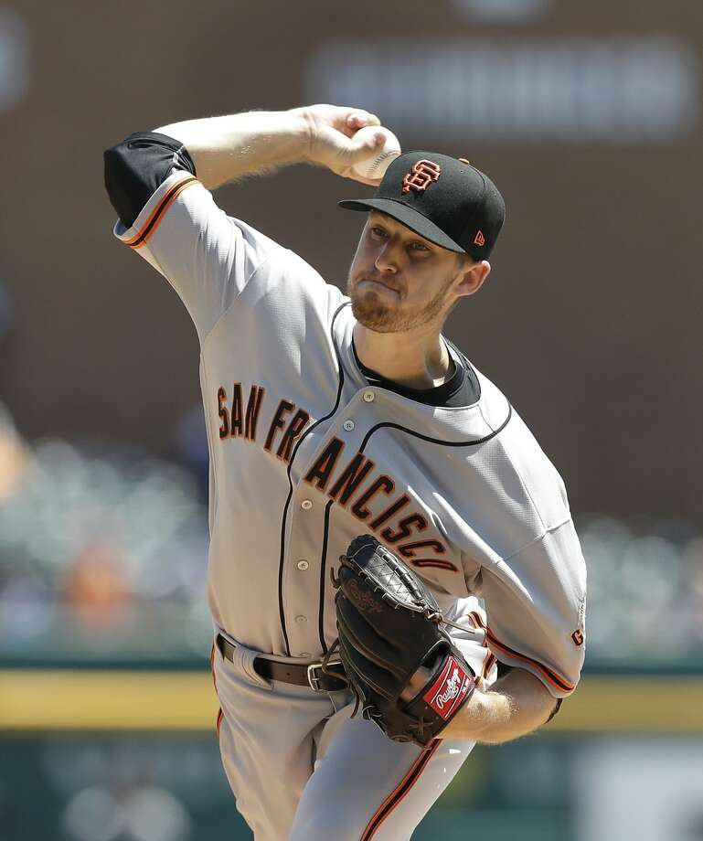 San Francisco Giants starting pitcher Chris Stratton throws during the fourth inning of a baseball game against the Detroit Tigers, Thursday, July 6, 2017, in Detroit. (AP Photo/Carlos Osorio) Photo: Carlos Osorio, Associated Press