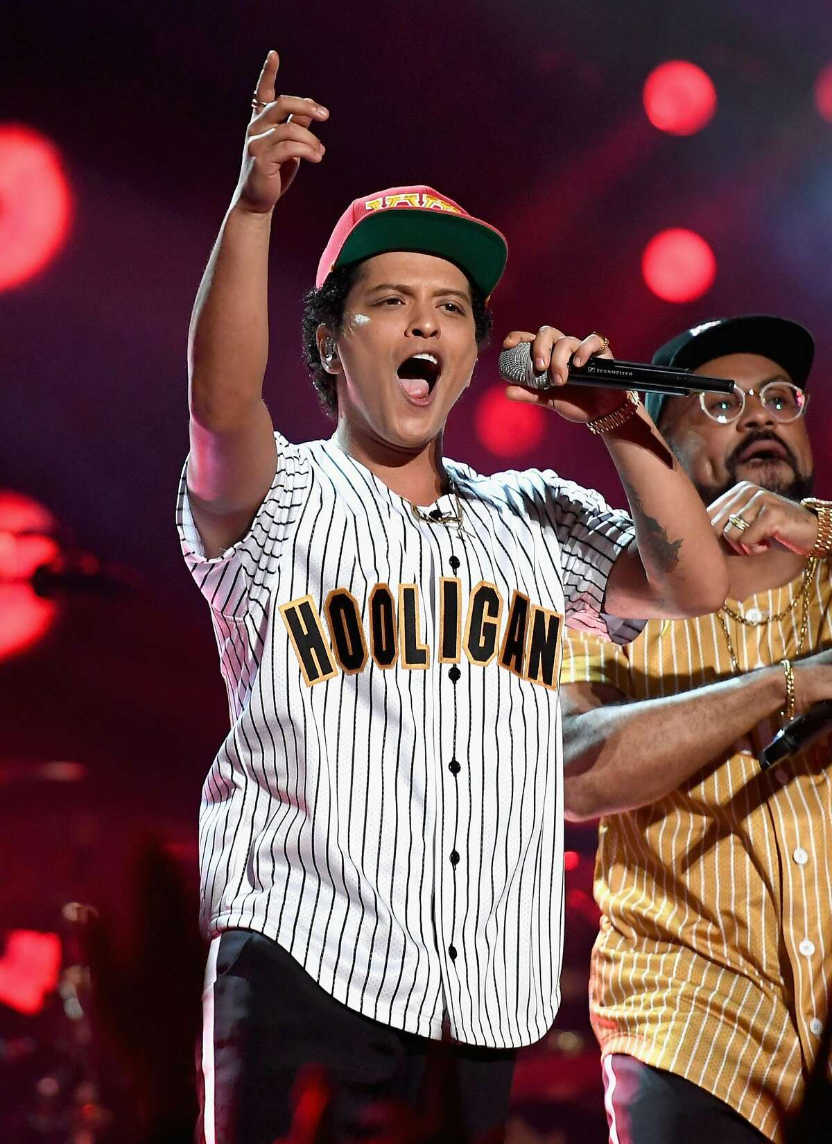 LOS ANGELES, CA - JUNE 25: Bruno Mars performs onstage at 2017 BET Awards at Microsoft Theater on June 25, 2017 in Los Angeles, California. (Photo by Paras Griffin/Getty Images for BET)