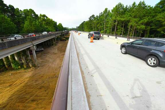 Motorists were crossing the newly-constructed lanes of the Kuykendahl bridge widening between Harris and Montgomery counties.