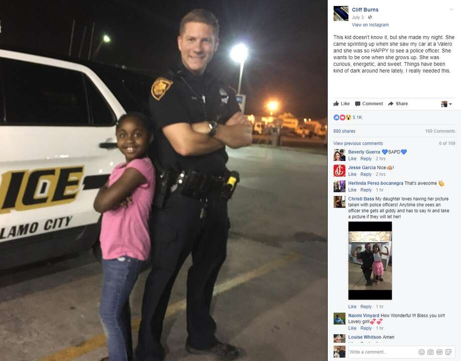 "Cliff Burns: ""This kid doesn't know it, but she made my night. She came sprinting up when she saw my car at a Valero and she was so HAPPY to see a police officer. She wants to be one when she grows up. She was curious, energetic, and sweet. Things have been kind of dark around here lately. I really needed this."" Photo: Facebook/Cliff Burns"