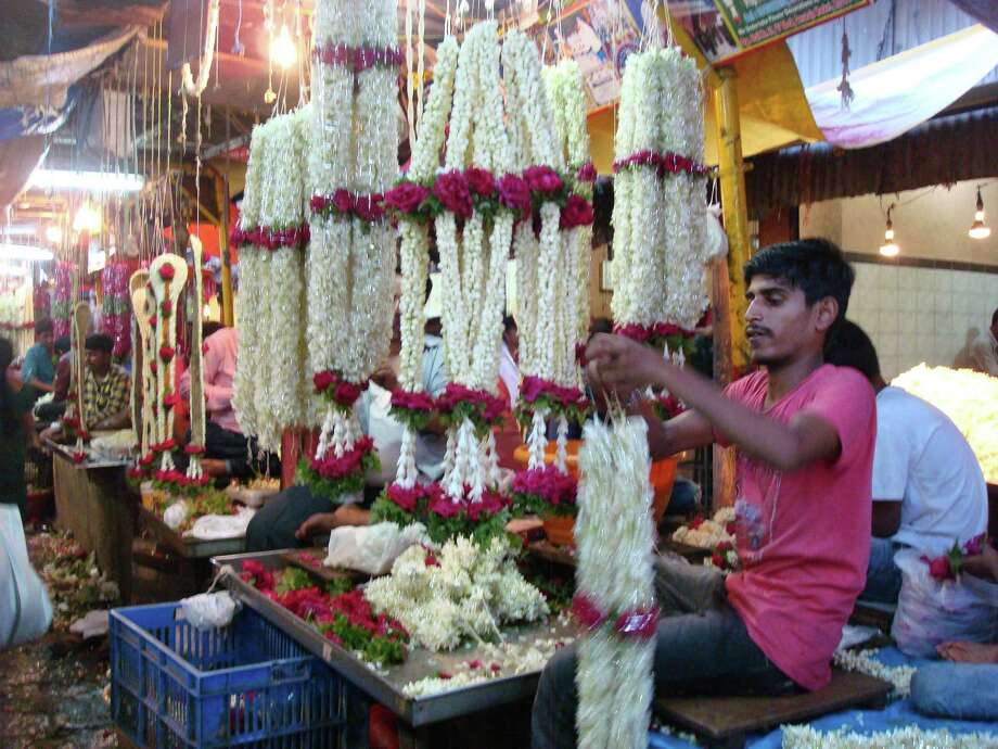 Jasmine garlands at the Devaraja Market. Photo: Sandy Rao / For The Express-News