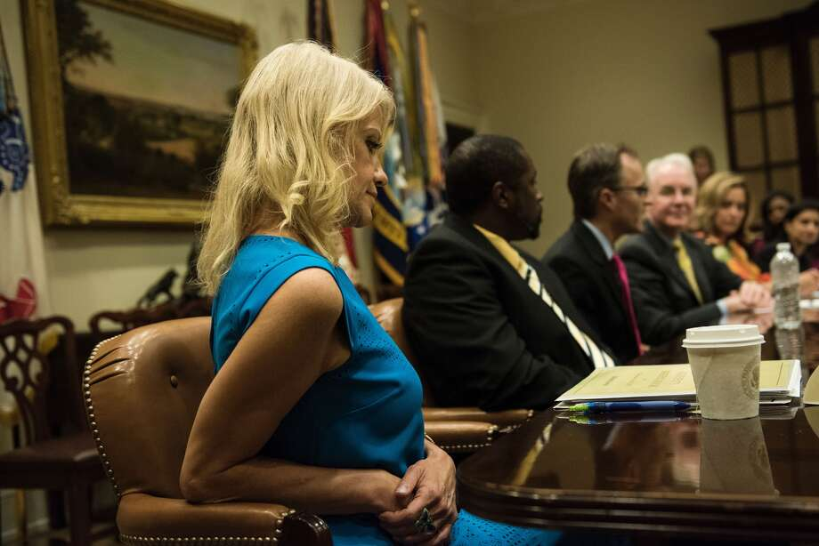 US Secretary of Health and Human Services Tom Price (3rdR), Counselor to the President Kellyanne Conway (L) and others listen as participants speak before a meeting about healthcare in the Roosevelt Room of the White House June 21, 2017 in Washington, DC. / AFP PHOTO / Brendan Smialowski Photo: (BRENDAN SMIALOWSKI/AFP/Getty Images)