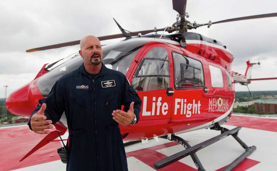 Todd Grubbs, chief pilot with Memorial Hermann Life Flight, talks about the benifits of the hospital's new roof helipad at Memorial Hermann The Woodlands Hospital, Thursday, June 22, 2017, in The Woodlands. Photo: Jason Fochtman, Staff Photographer / © 2017 Houston Chronicle