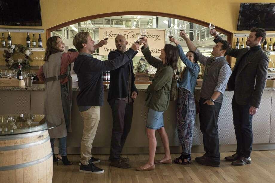 "Annie Parisse, Nat Faxon, Keegan-Michael Key, Cobie Smulders, Jae Suh Park, Fred Savage, Billy Eichner star in the new Netflix comedy ""Friends from College."" Photo: Netflix"