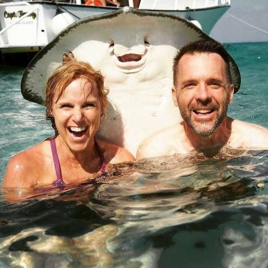 "The friendly sting ray: ""My parents made a new friend on vacation."" Photo: Courtesy Awkward Family Photos"