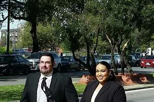 Eric Jon Alva and Jessica Rivas Alva leave federal court in San Antonio on Thursday after pleading guilty to defrauding immigrants.