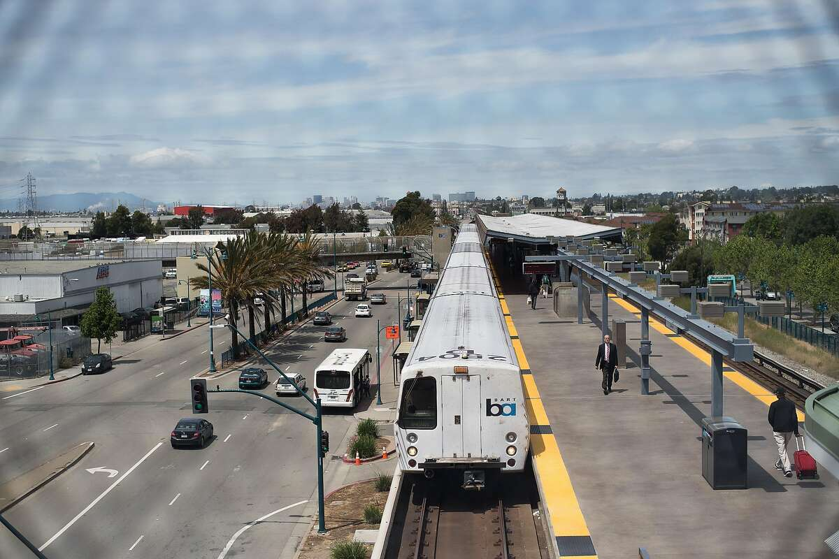 A train leaves the Coliseum BART station on Tuesday, April 25, 2017, in Oakland, Calif.
