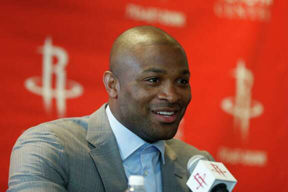 P.J. Tucker speaks to the media as  the Houston Rockets introduced him during a press conference after he signed with the team as a free agent at the Toyota Center, Thursday, July, 6, 2017. ( Karen Warren / Houston Chronicle )