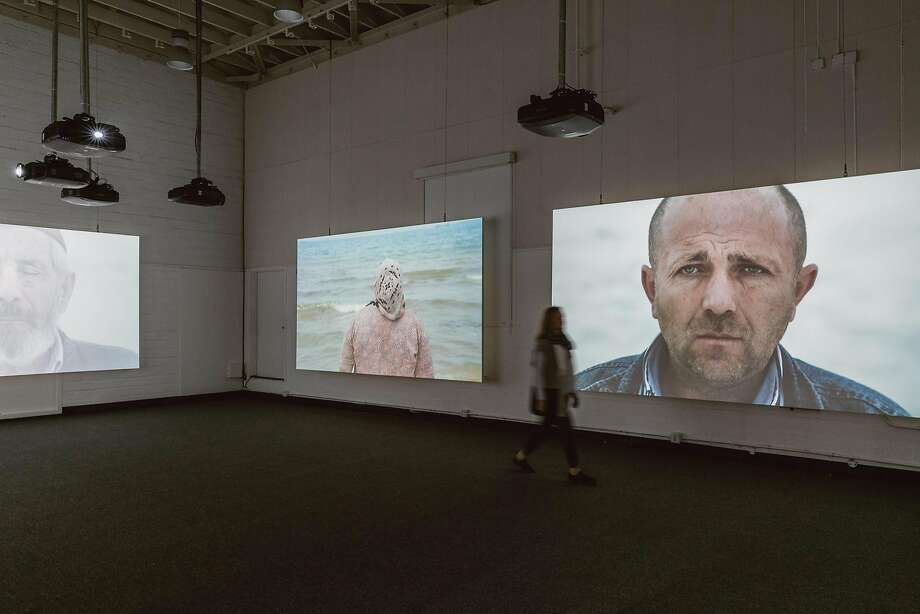 """Installation view of Sophie Calle's """"Voir la mer"""" in the Firehouse at Fort Mason Center for Arts & Culture Photo: Andria Lo"""