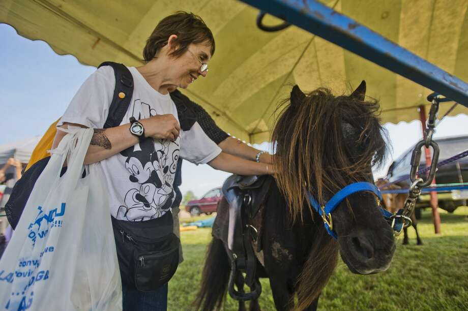 Becky Brookhouse of Bay City pets a Shetland pony at the Auburn Cornfest on Thursday, July 6, 2017 in Auburn. Photo: (Katy Kildee/kkildee@mdn.net)