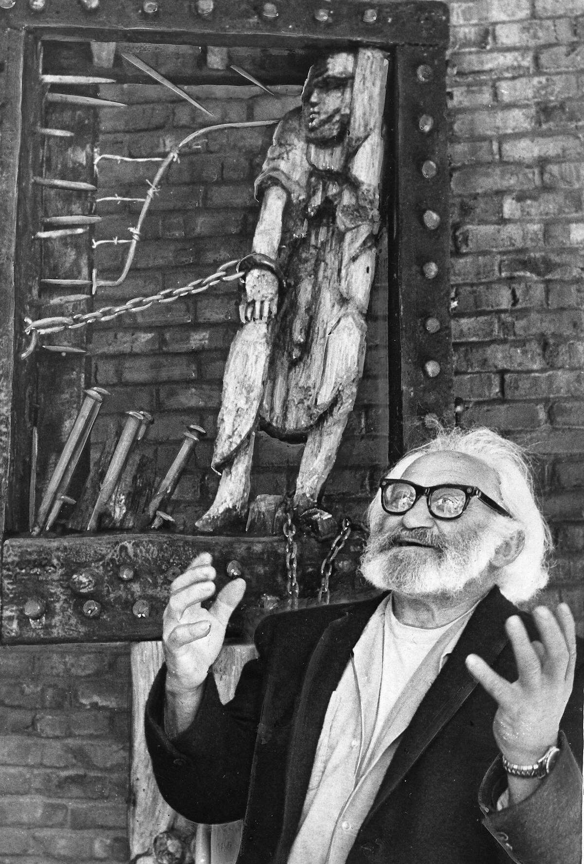 Scupltor Bernard Zakheim, one of the artists who painted some of the Coit Tower murals Photo ran May 16, 1968, P. 11