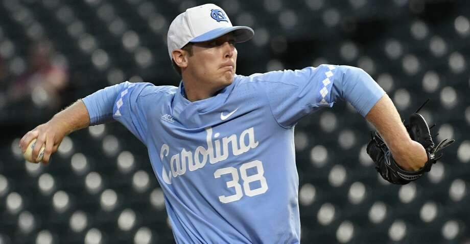 North Carolina pitcher J.B. Bukauskas (38) throws against North Carolina State State during the Atlantic Coast Conference baseball tournament in Louisville, Ky., Friday, May. 26, 2017. (Timothy D. Easley/theACC.com via AP) Photo: Timothy D. Easley/Associated Press