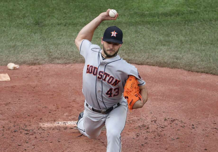 The Astros' Lance McCullers Jr. allowed nine hits and six runs in 41⁄3 innings for the defeat. He threw 100 pitches. Photo: Tom Szczerbowski, Stringer / 2017 Getty Images