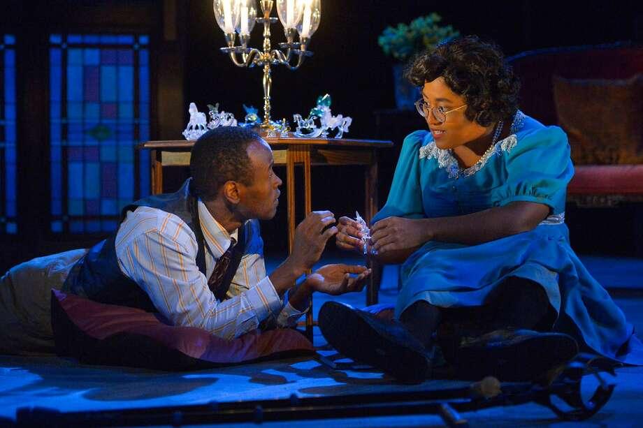 "Rafael Jordan as Jim, Phoebe Fico as Laura in California Shakespeare Theater's ""The Glass Menagerie."" Photo: Kevin Berne, California Shakespeare Theater"