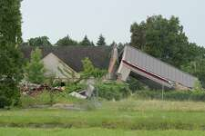 The former Howard Johnson motel in Albany is a pile of rubble on Friday, July 7, 2017, after it was torn downbecause of a devastating fire a day earlier. (Skip Dickstein/Times Union)