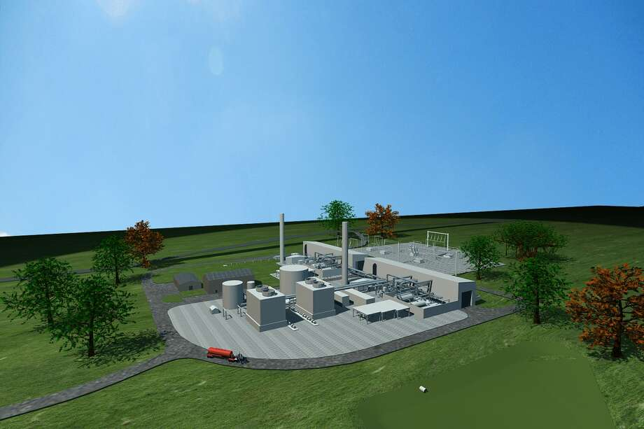A rendering of a compressed air energy storage facility that Houston-based Apex CAES plans to build near Palestine, Texas. The startup hopes to take inexpensive electricity produced at night by wind turbines to compress air into underground salt caverns. When the price of electricity is right, the air is released through turbines that generate electricity to be sold at a higher price. Photo: Handout/Apex CAES