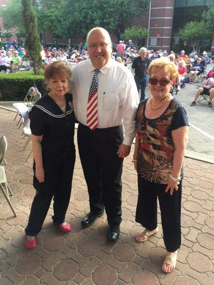 Pictured from left are Judge Kathleen Hamilton, Judge Wayne Mack and Gayle Laminack, CSO Board President at the July 1 Conroe Symphony Orchestra Patriotic Concert in downtown Conroe.