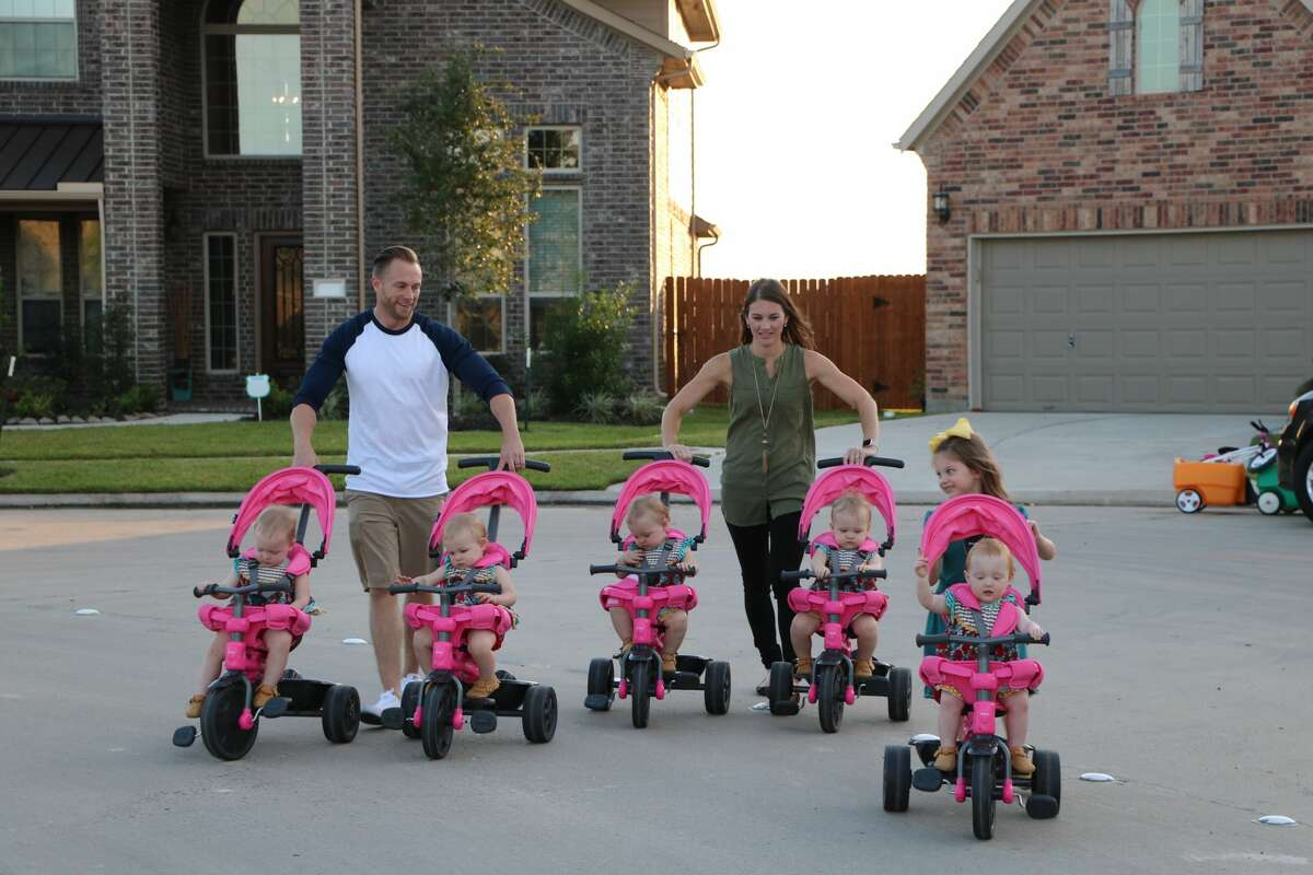 PHOTOS: The Busby family's quints return to TLC Danielle, Adam, Blayke, Ava, Olivia, Hazel, Parker and Riley Busby walk with the tricycles. The third season of the family's TLC reality premieres on Tuesday, July 11. Click through to see more photos of the family in action...