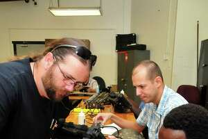San Jacinto College students are led in a nondestructive testing program.