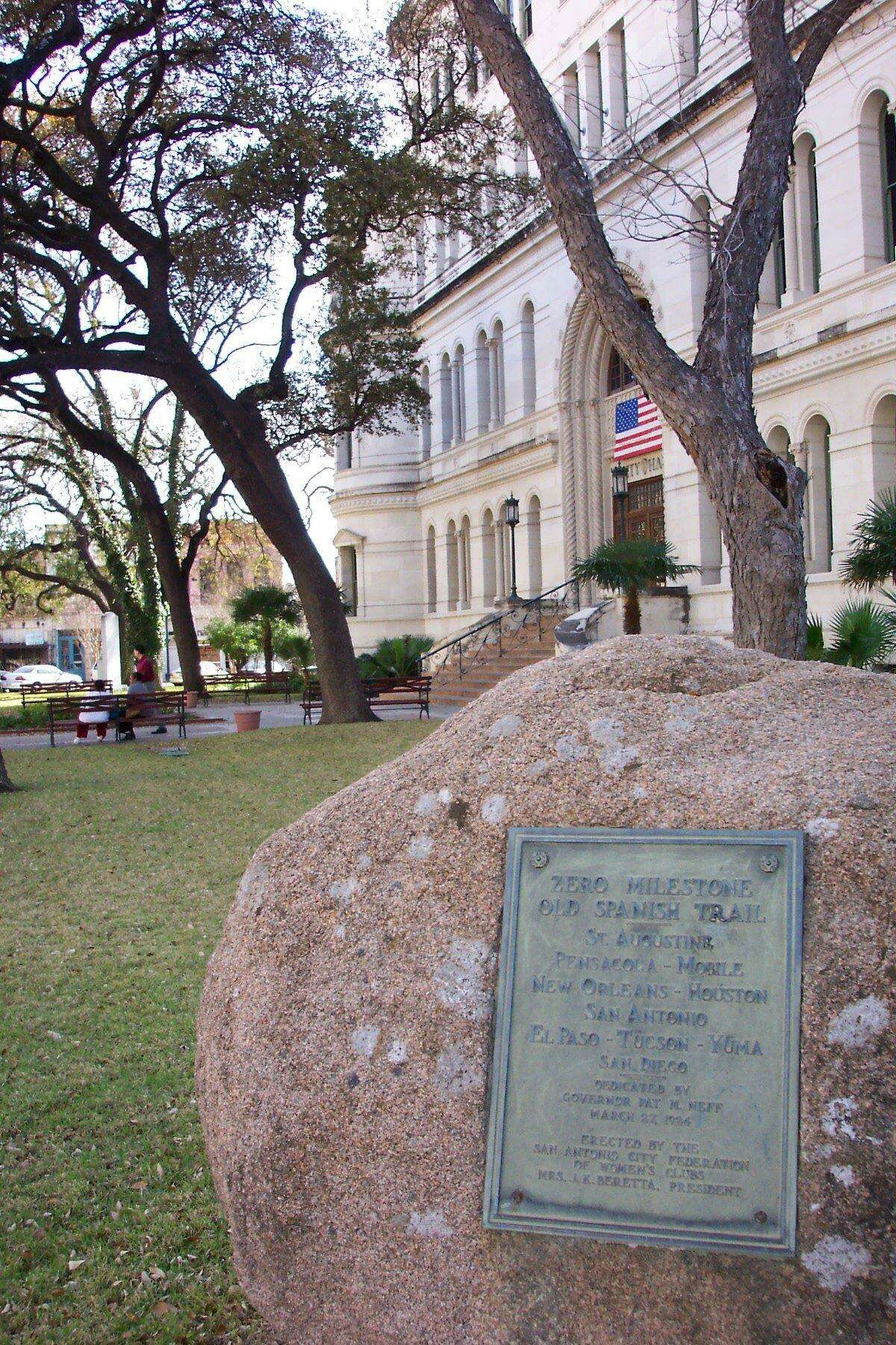 This is the Zero Milestone marker of the Old Spanish Trail, placed in 1924 on the northeast corner of the grounds of what is now San Antonio City Hall. The Old Spanish Trail is a commemorative highway, planned and promoted in the early 20th century. (Updated to correct date).