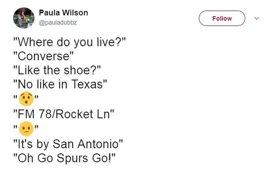 "@pauladubbz: ""Where do you live?"" ""Converse"" ""Like the shoe?"" ""No like in Texas"" ""FM 78/Rocket Ln"" ""It's by San Antonio"" ""Oh Go Spurs Go!"" Photo: Twitter.com"