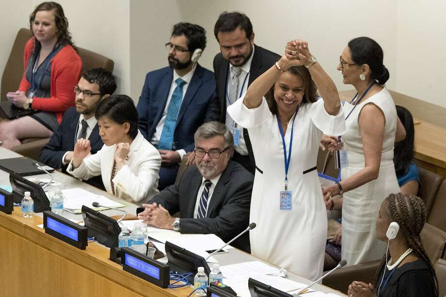 Costa Rican Ambassador Elayne Whyte Gomez, president of the U.N. Conference to Negotiate a Legally Binding Instrument to Prohibit Nuclear Weapons, reacts after the vote to prohibit nuclear weapons. Photo: Mary Altaffer, Associated Press