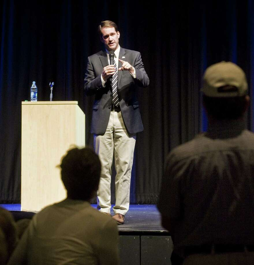 U.S. Representative Jim Himes responds to audience questions during a Town Hall meeting at Bedford Middle School in Westport. Thursday, July 6, 2017 Photo: Scott Mullin / For Hearst Connecticut Media / The News-Times Freelance