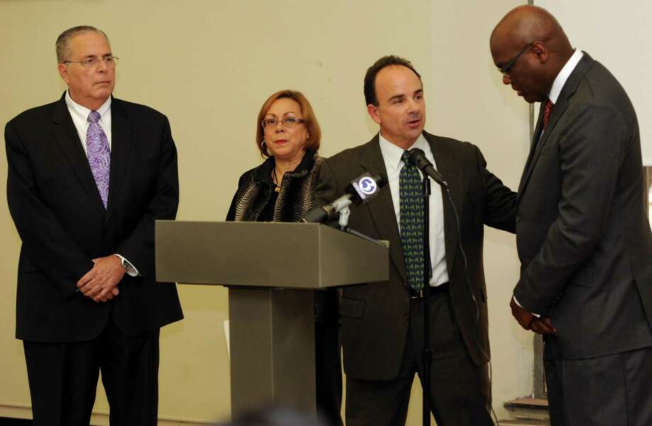 Bridgeport Mayor-elect Joseph Ganim held a news conference to announce his transition task force on Monday Nov.16, 2015 at the Bridgeport Public Library main branch in Bridgeport, Conn. The transition is being steered by, Neil Salonen, president of the University of Bridgeport, outgoing Town Clerk Alma Maya and state Rep. Charlie Stallworth. Photo: Cathy Zuraw / Hearst Connecticut Media / Connecticut Post