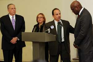 Bridgeport Mayor-elect Joseph Ganim held a news conference to announce his transition task force on Monday Nov.16, 2015 at the Bridgeport Public Library main branch in Bridgeport, Conn. The transition is being steered by, Neil Salonen, president of the University of Bridgeport, outgoing Town Clerk Alma Maya and state Rep. Charlie Stallworth.